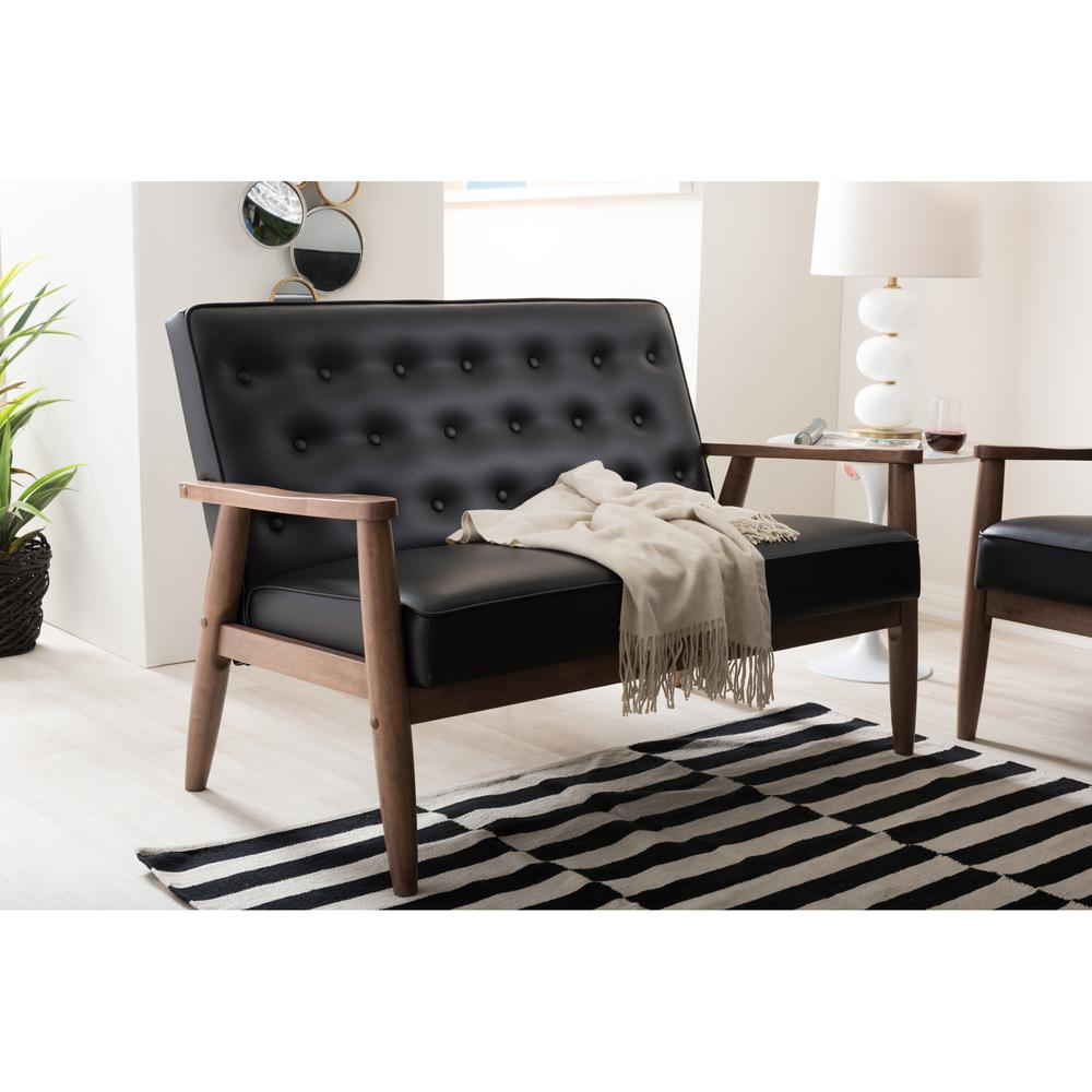 baxton studio sorrento midcentury black faux leather upholstered the home depot