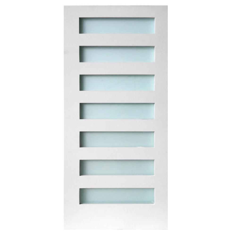 36 in. x 80 in. 7-Lite Satin Etch Primed Solid Core MDF Interior Door Slab