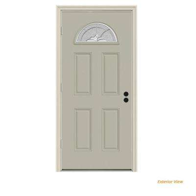 36 in. x 80 in. Fan Lite Langford Desert Sand Painted Steel Prehung Right-Hand Outswing Front Door w/Brickmould