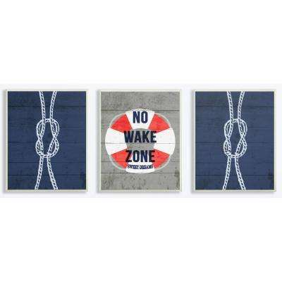 """10 in. x 15 in. """"No Wake Zone Rope And Liferaft"""" by Daphne Polselli Printed Wood Wall Art"""