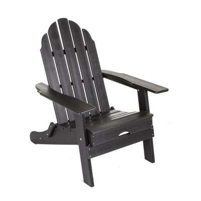 Black Plastic Folding Adirondack Chair