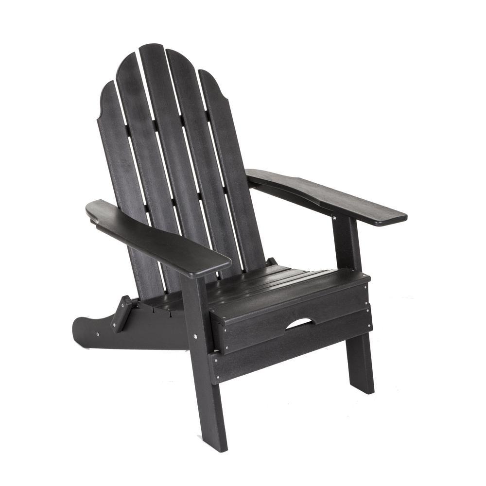 Black Plastic Folding Adirondack Chair
