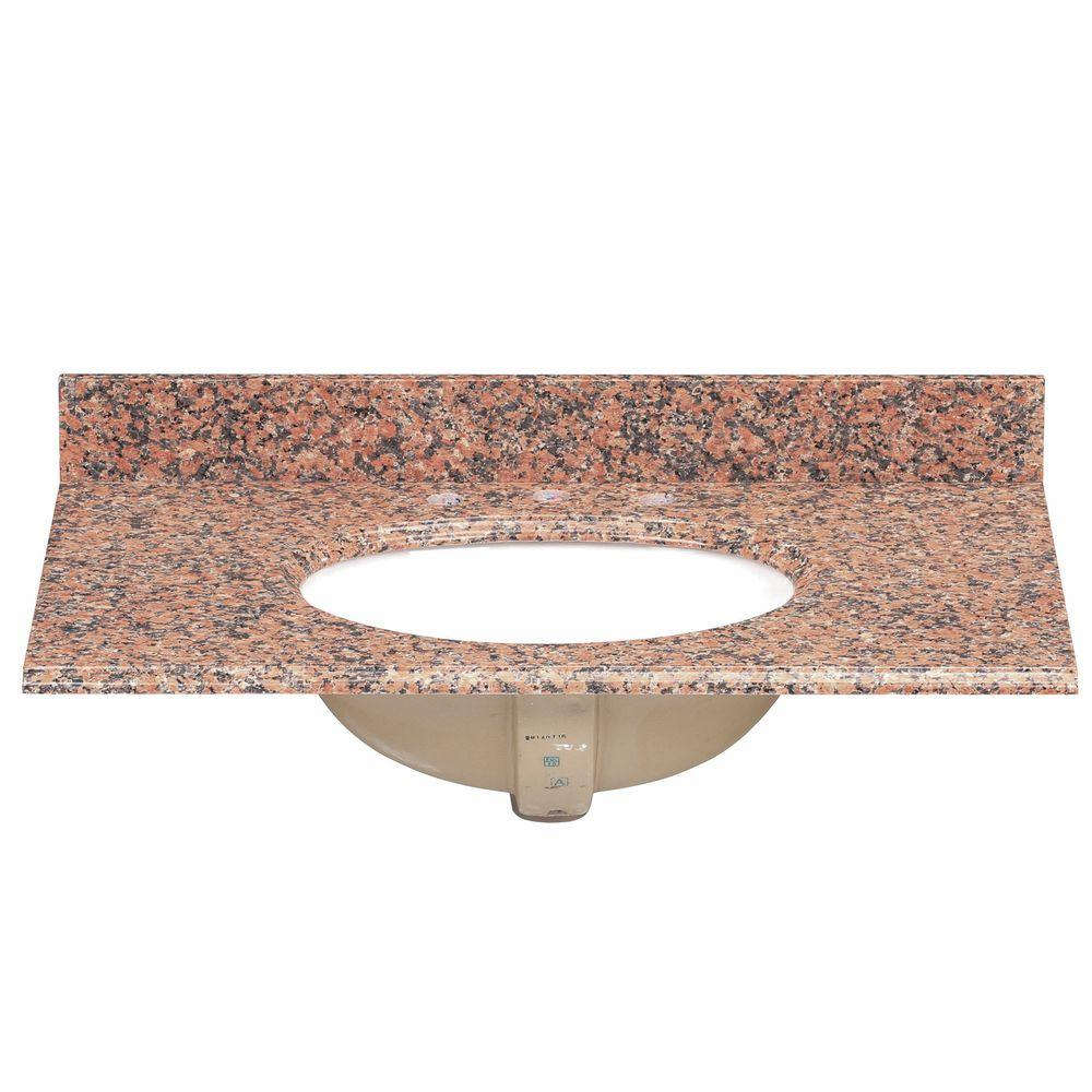 Pegasus 37 in. Granite Vanity Top in Terra Cotta with White Bowl