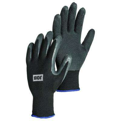 Large Size 9 Black Latex-Dipped Work Gloves