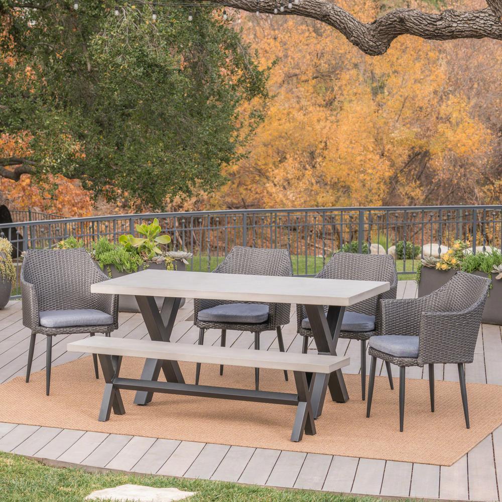 Waltonia Grey 6-Piece Wicker Outdoor Dining Set with Black Cushions
