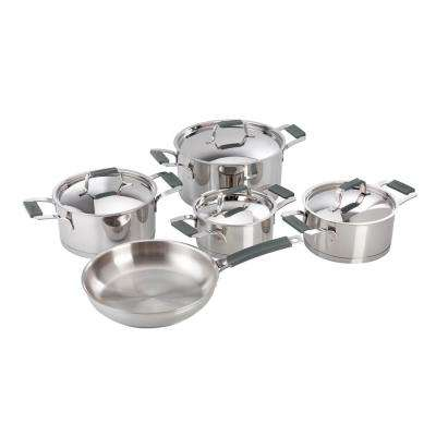 Premier 9-Piece Stainless Steel Cookware Set with Grey Handles