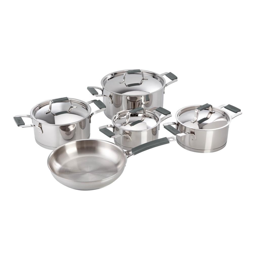 Magefesa Premier 9-Piece Stainless Steel Cookware Set with Grey Handles