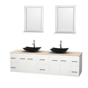Wyndham Collection Centra 80 inch Double Vanity in White with Marble Vanity Top in Ivory, Black Granite Sinks and 24... by Wyndham Collection