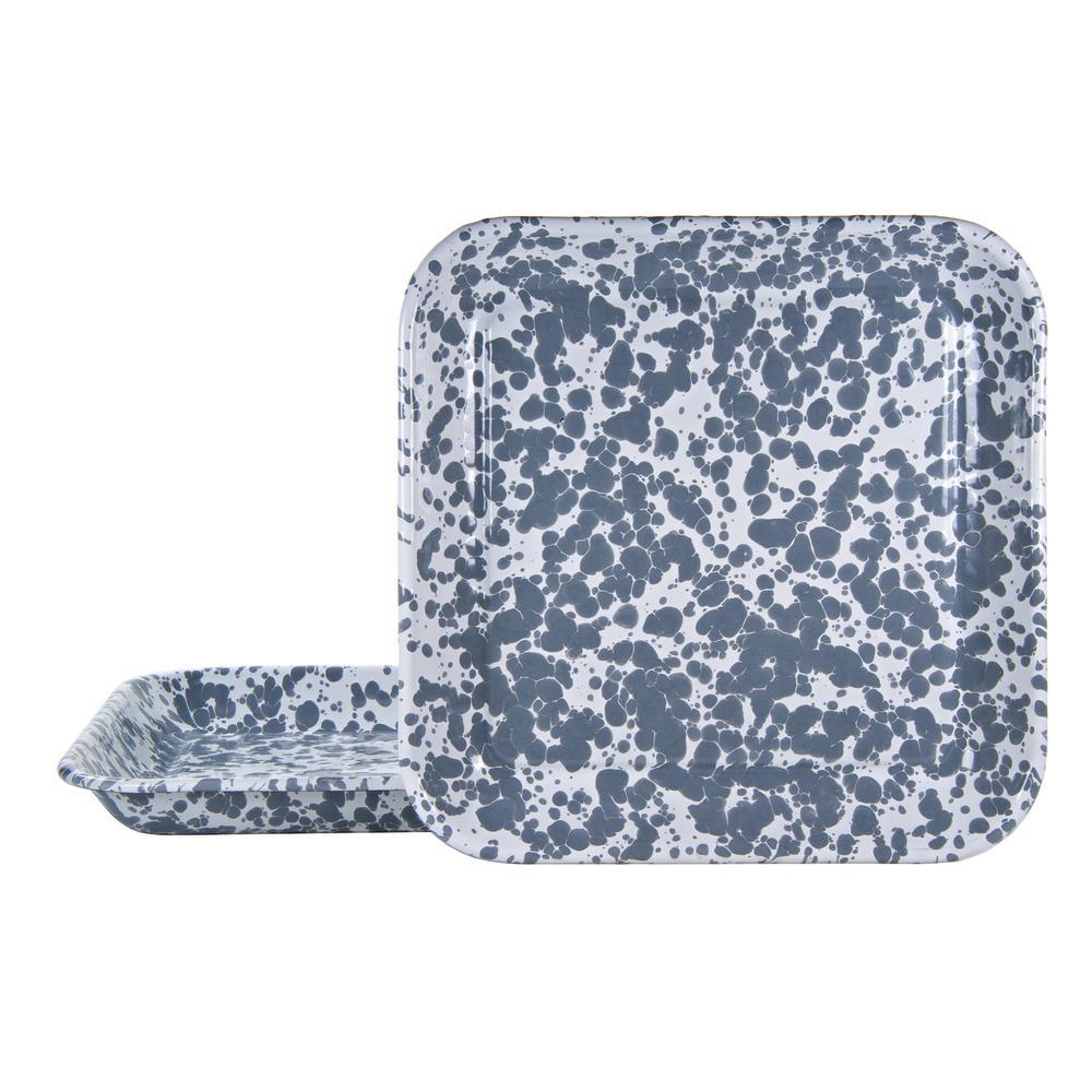 10.5 in. Grey Swirl Enamelware Square Plates (Set of 2)