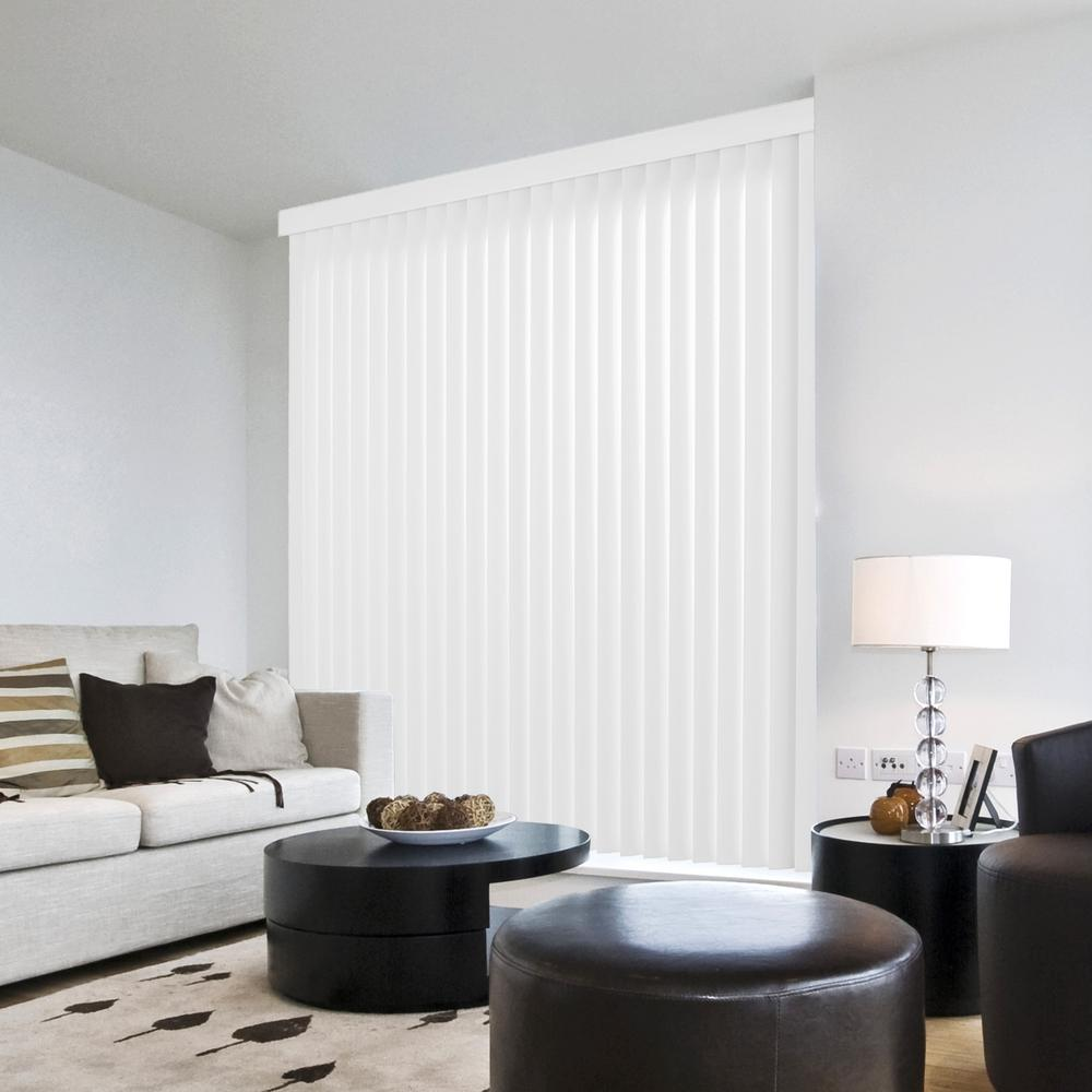 Hampton Bay Crown White 3.5 in. Vertical Blind/Louver Set - 3.5 in ...