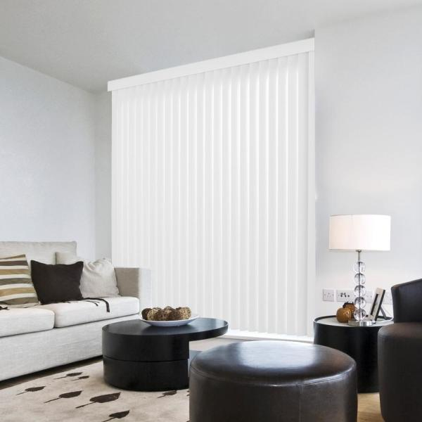 3.5 in. W x 84 in. L Crown White 3.5 in. Vertical Blind/Louver Set (9-pack)