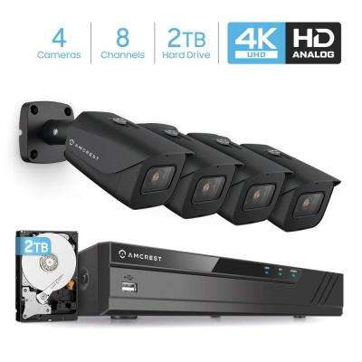 4K 8-Channel 2TB HDD DVR Security Camera System with 4x 4K 8 MP Bullet Indoor Outdoor Wired Cameras, Weatherproof IP67