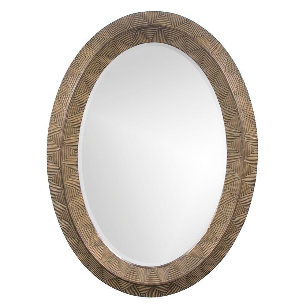 null 45 in. x 33 in. Round Framed Mirror in Antique Copper