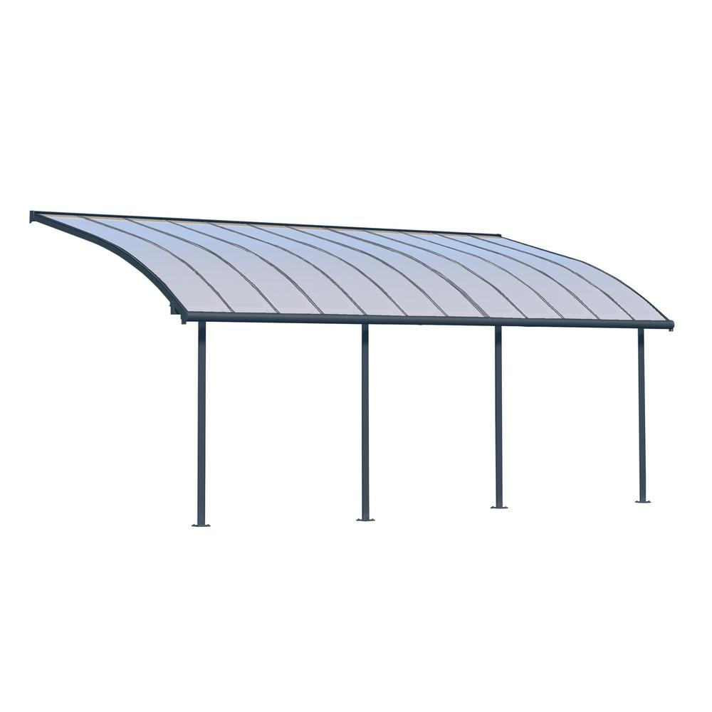 Palram Joya 10 Ft X 24 Ft Grey Patio Cover Awning 704456 The