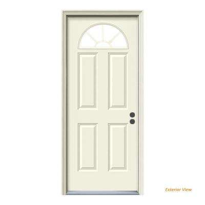 32 in. x 80 in. Fan Lite Primed Steel Prehung Left-Hand Inswing Front Door w/Brickmould