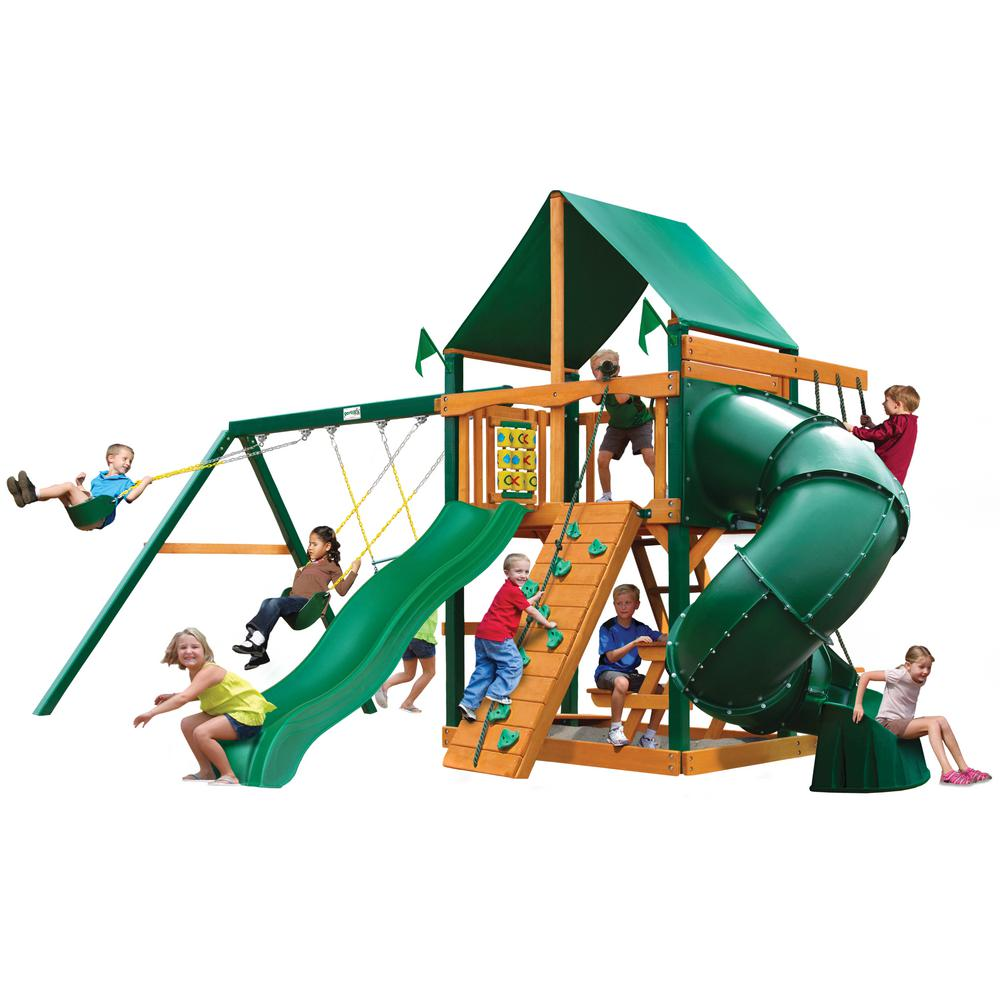 Gorilla Playsets Mountaineer Wooden Swing Set with Green Vinyl Canopy, Timber Shield Posts and Tube Slide