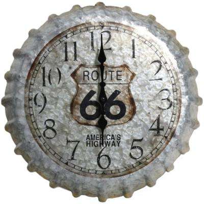 14.2 in. Gray Weathered Route 66 Metal Bottle Cap Indoor/Outdoor Analog Clock