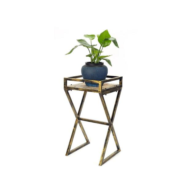 27 in. Gray Stone Slab Black/Gold Metal Plant Stand