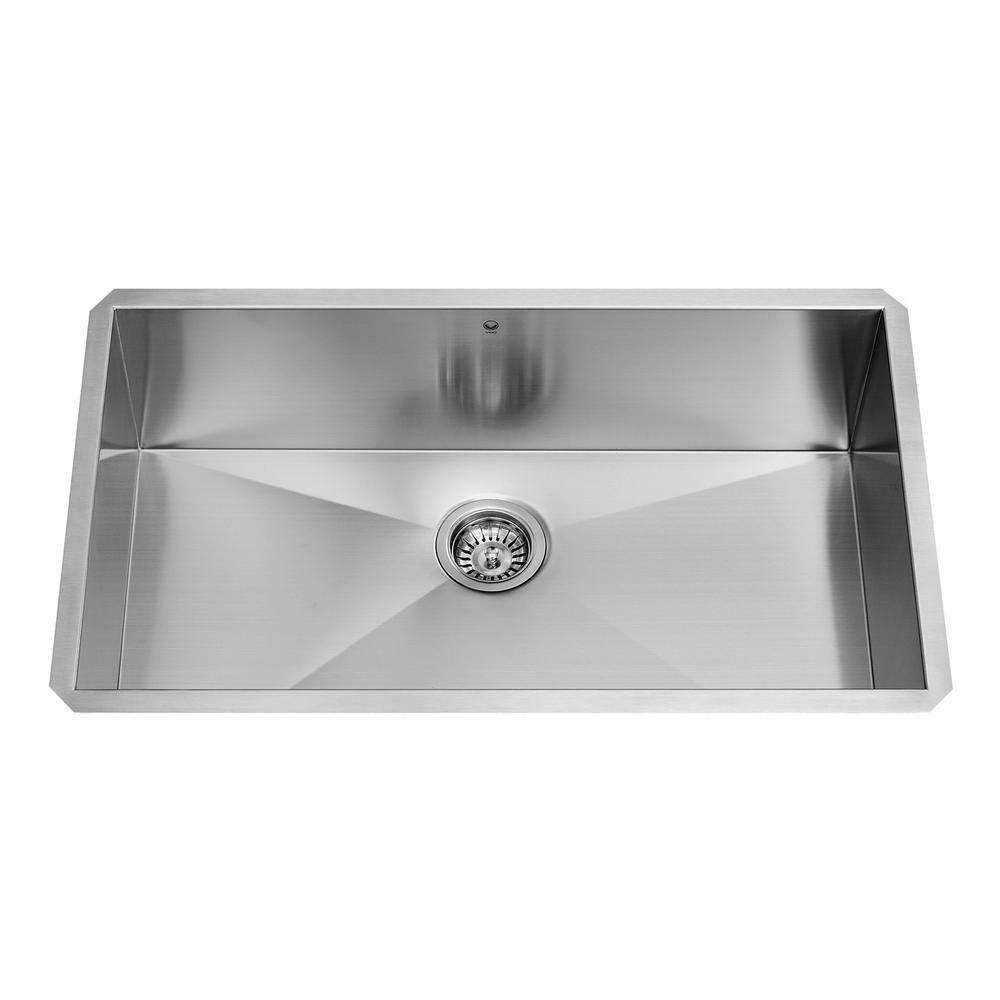 VIGO Undermount 30 In. Single Bowl Kitchen Sink In Stainless Steel