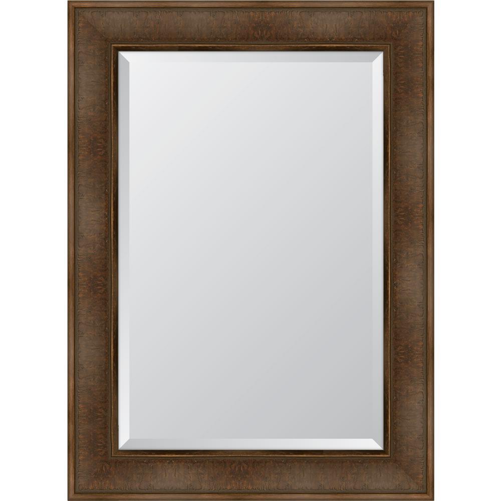 32.5 in. x 44.5 in. Framed Dark Walnut Mirror