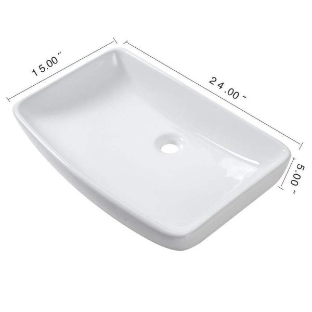 All In One Decor White Ceramic Rectangular Vessel Bathroom Sink Skslh46047ve The Home Depot
