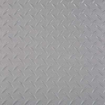 RaceDay 12 in. x 12 in. Metallic Silver Peel and Stick Diamond Tread Polyvinyl Tile (20 sq. ft. / case)