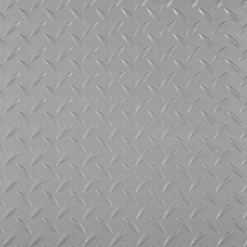 RaceDay Diamond Tread Metallic Silver 24 in. x 24 in. Peel and Stick Polyvinyl Tile (40 sq. ft. / case)