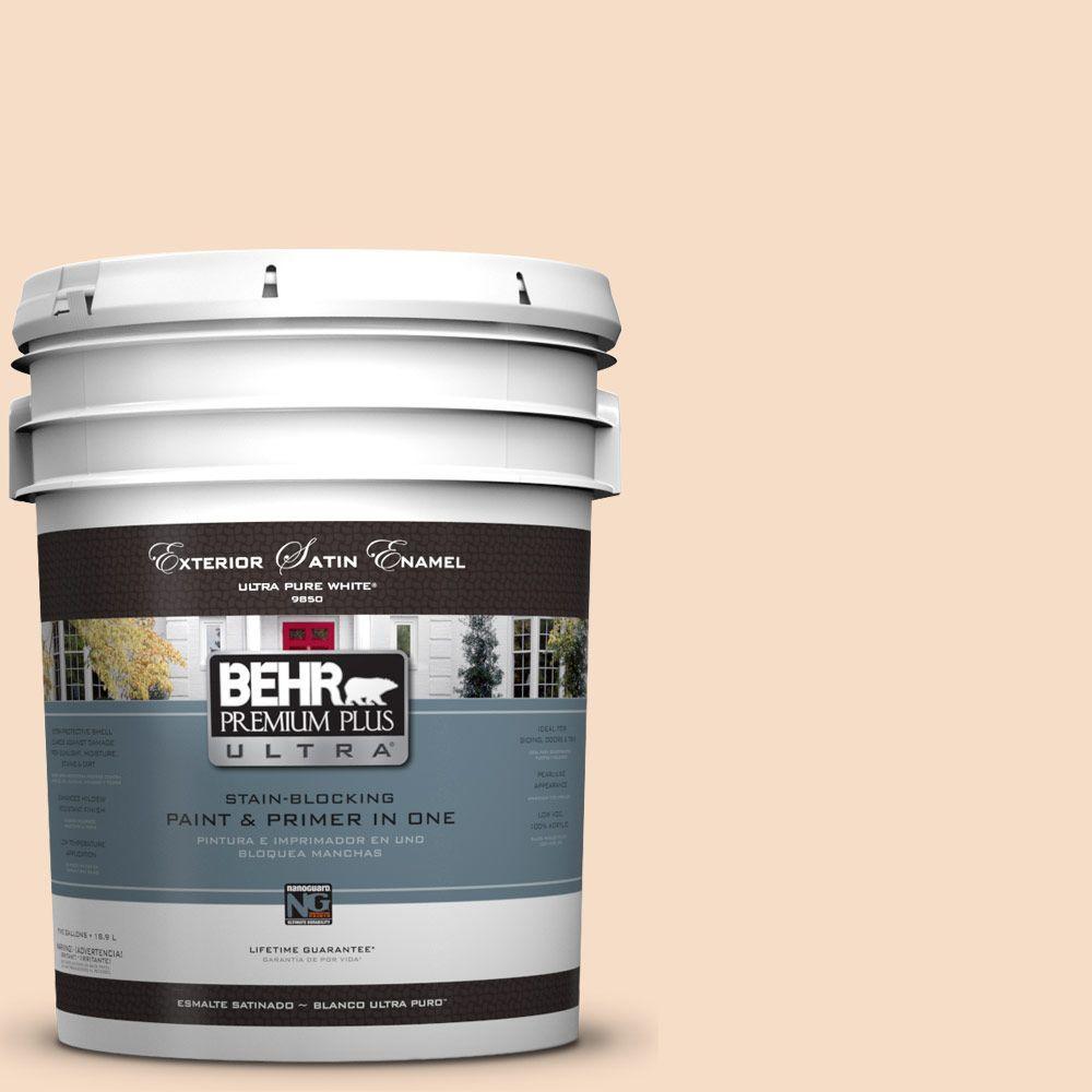 BEHR Premium Plus Ultra 5-gal. #HDC-SP14-3 Faint Peach Satin Enamel Exterior Paint