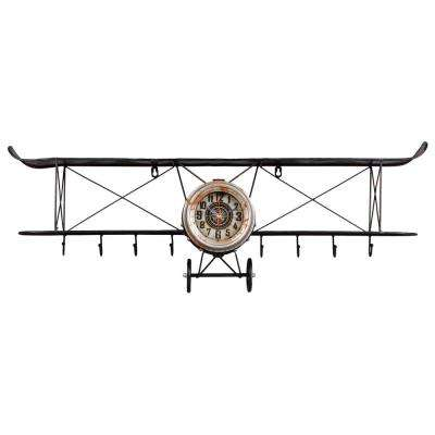 Distressed Antiqued Vintage Finish Black Biplane Wall Clock