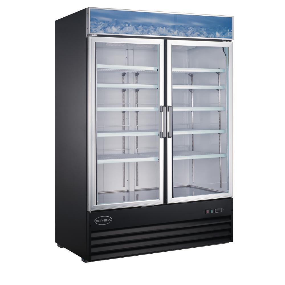53 in. W 45 cu. ft. Two Glass Door Merchandiser Commercial Refrigerator in Black
