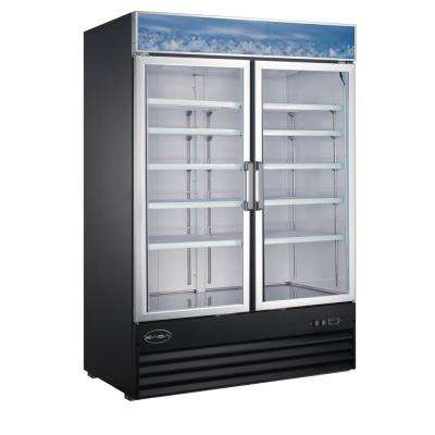 53 in. W 45 cu. ft. Two Glass Door Merchandiser Commercial Reach In Upright Refrigerator Cooler in Black