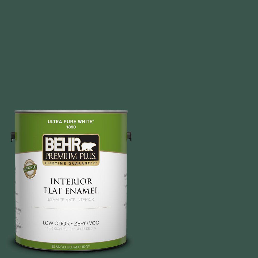BEHR Premium Plus 1-gal. #PPF-02 Patio Green Zero VOC Flat Enamel Interior Paint-DISCONTINUED