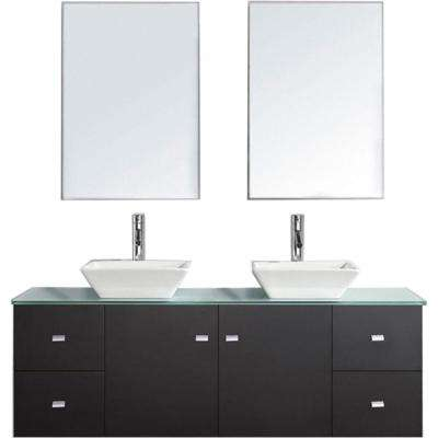 Clarissa 60 in. W Bath Vanity in Espresso with Glass Vanity Top in Aqua with Square Basin and Mirror and Faucet