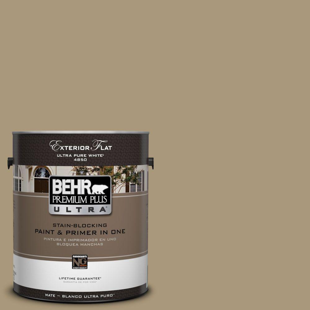 BEHR Premium Plus Ultra 1-Gal. #UL190-20 Exploring Khaki Flat Exterior Paint