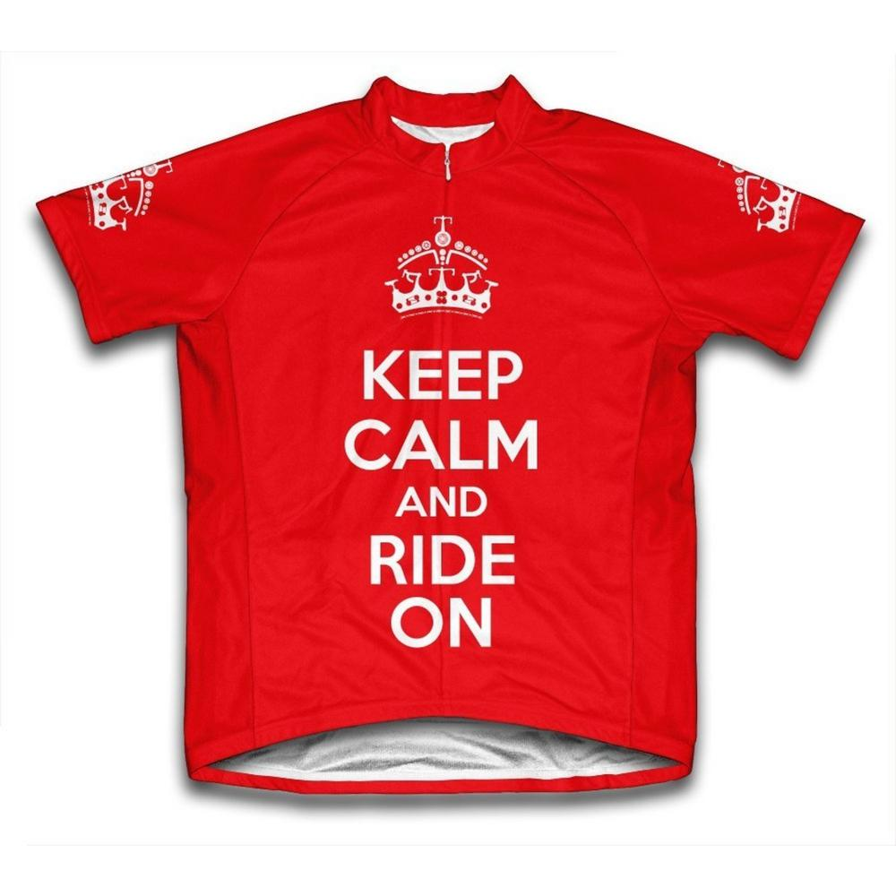Small Red Keep Calm and Ride On Microfiber Short-Sleeved Cycling Jersey