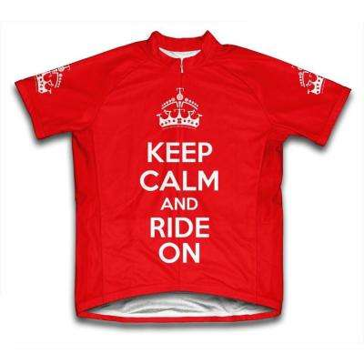 X-Large Red Keep Calm and Ride On Microfiber Short-Sleeved Cycling Jersey