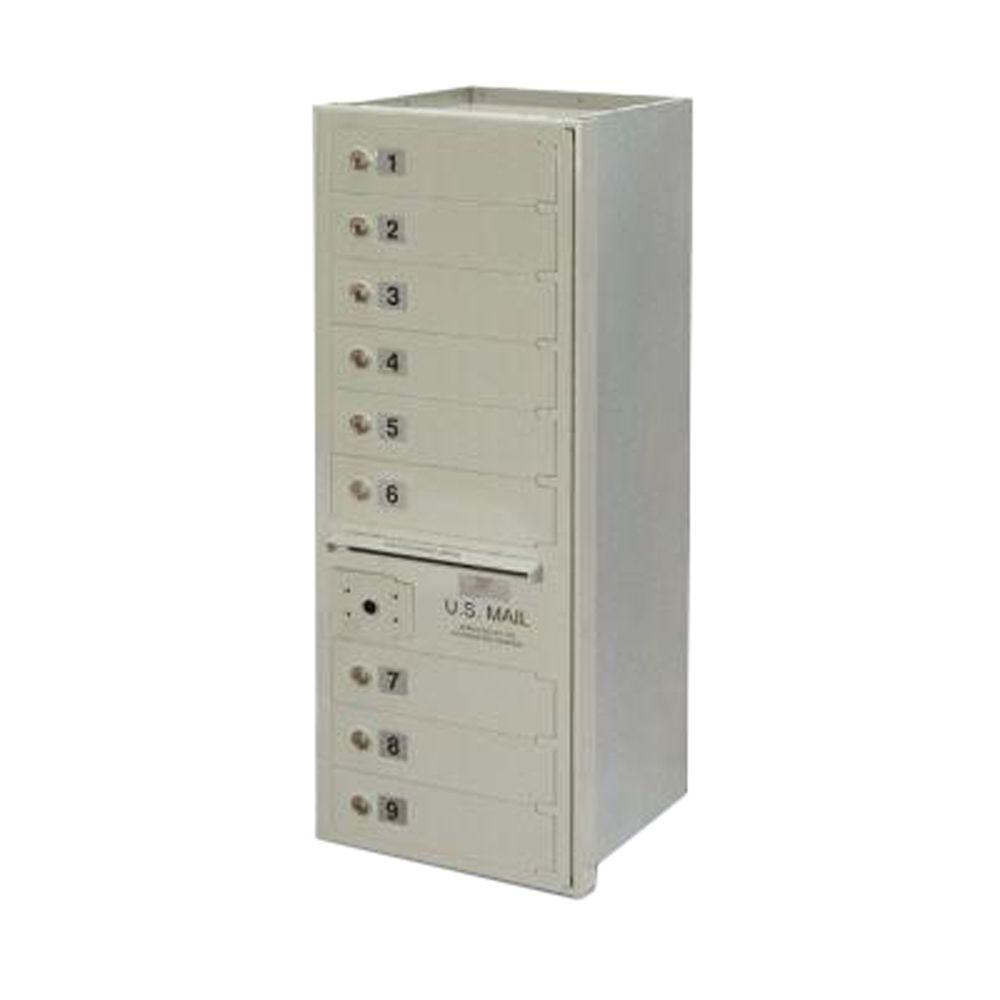 9-Compartment Wall-Mount Horizontal Mailbox