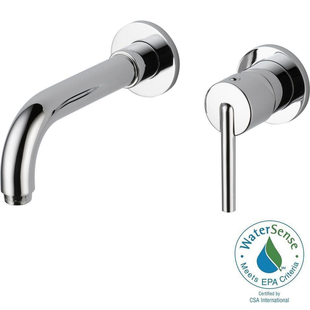 Delta Trinsic Single-Handle Wall Mount Bathroom Faucet in Chrome ...