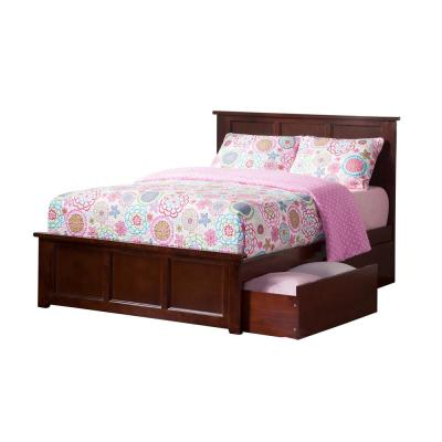 Madison Walnut Full Platform Bed with Matching Foot Board and 2 Urban Bed Drawers