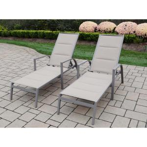 2-Piece Padded Sling Aluminum Patio Chaise Lounges