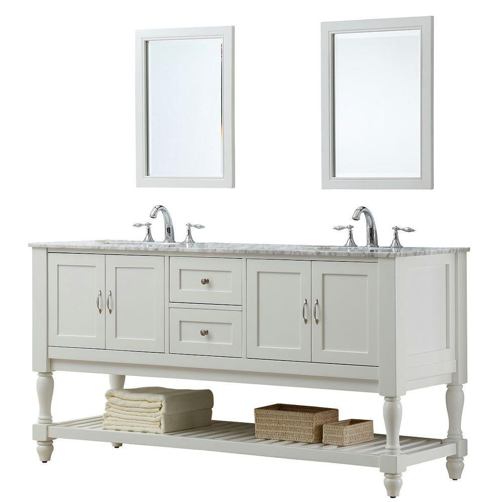 Direct vanity sink Mission Turnleg 70 inch Double Vanity in Pearl White with Marble Vanity Top in Carrara White and... by Direct vanity sink