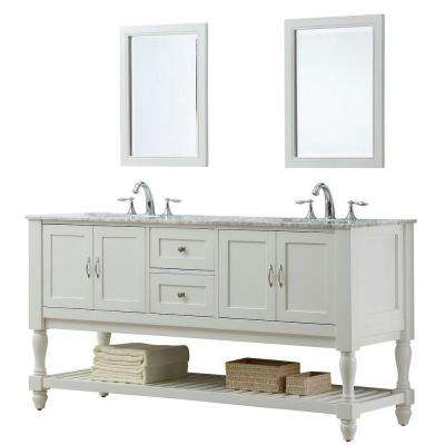 Mission Turnleg 70 in. Double Vanity in Pearl White with Marble Vanity Top in Carrara White and Mirror