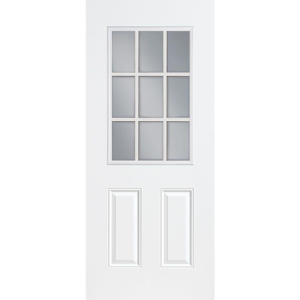 Masonite 32 in. x 80 in. 9 Lite Internal Grille Primed Smooth Fiberglass Prehung Front Door with No Brickmold
