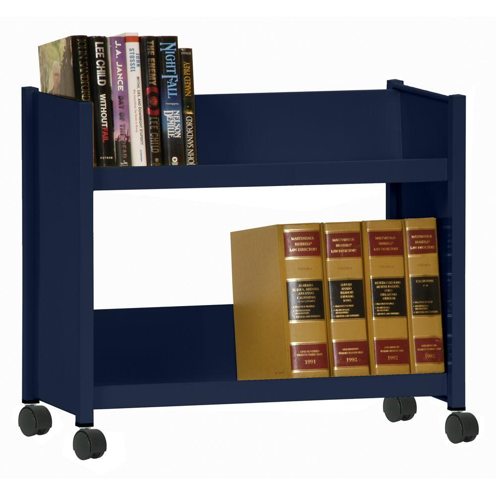 2-Sloped Shelf Welded Booktruck in Navy