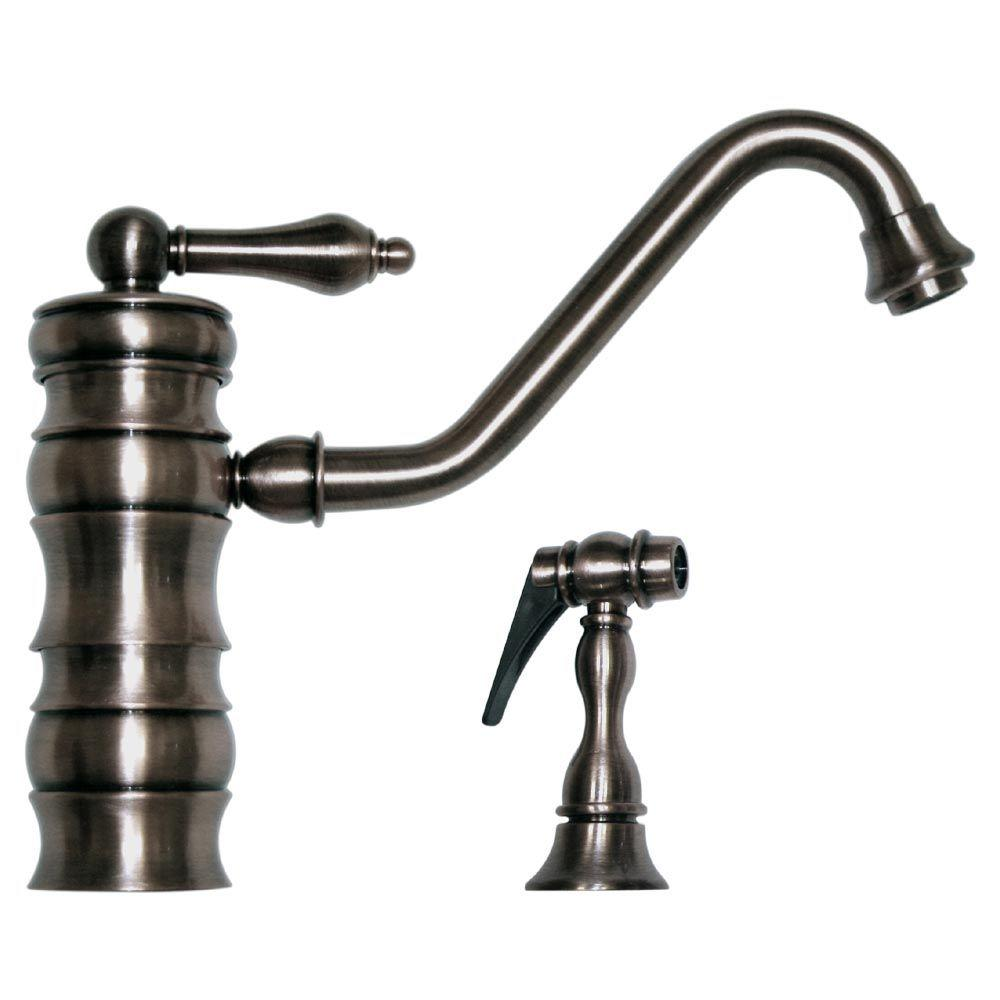 Whitehaus Collection Vintage III Single-Handle Standard Kitchen Faucet with Long Traditional Spout and Side Sprayer in Brushed Nickel
