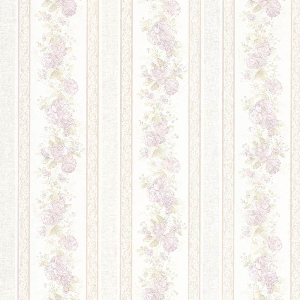 Mirage Tasha Lavender Satin Floral Scroll Stripe Wallpaper