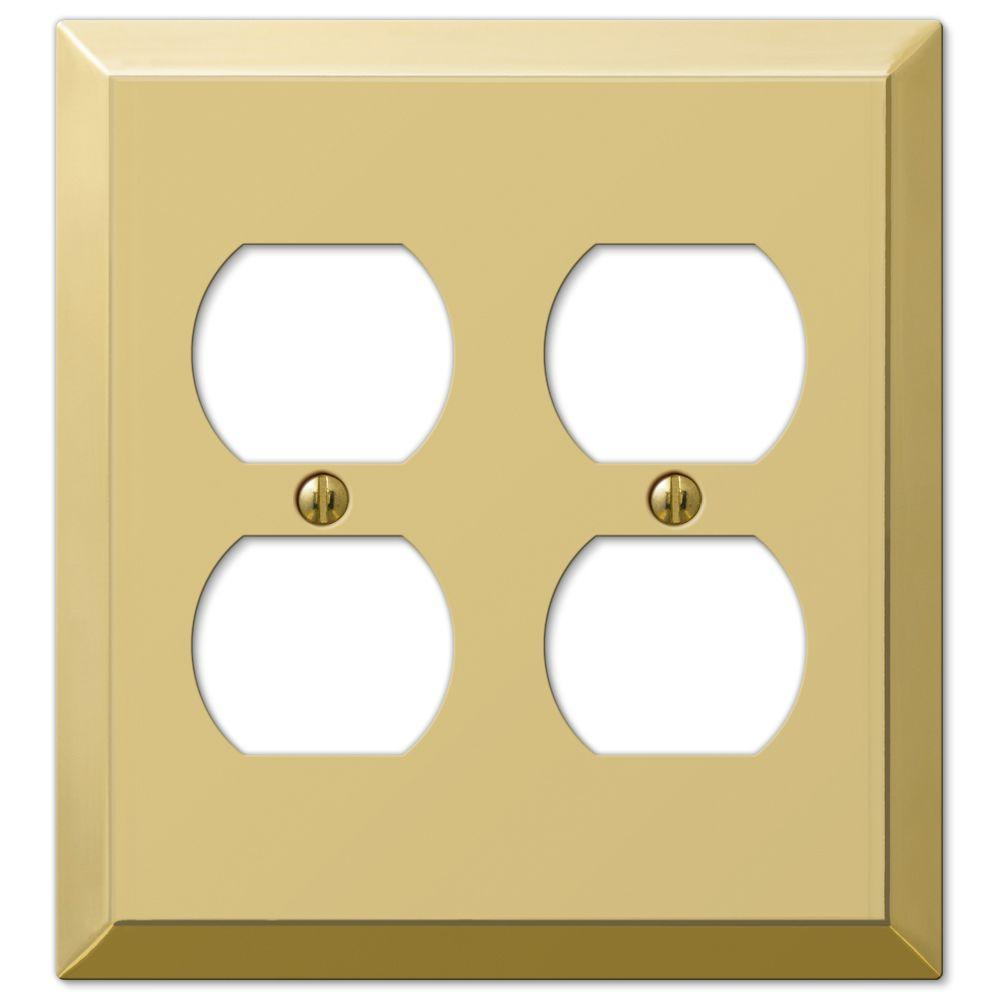 Century Steel 2 Duplex Wall Plate - Bright Brass