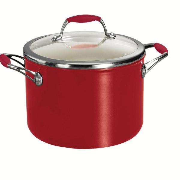Tramontina Gourmet Ceramica Deluxe 6 Qt Aluminum Ceramic Nonstick Stock Pot In Metallic Red With Glass Lid 80110 065ds The Home Depot