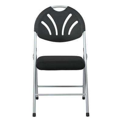 Black Plastic Folding Chair with Fan and Back/Fabric Seat with Silver Frame (4-Pack)