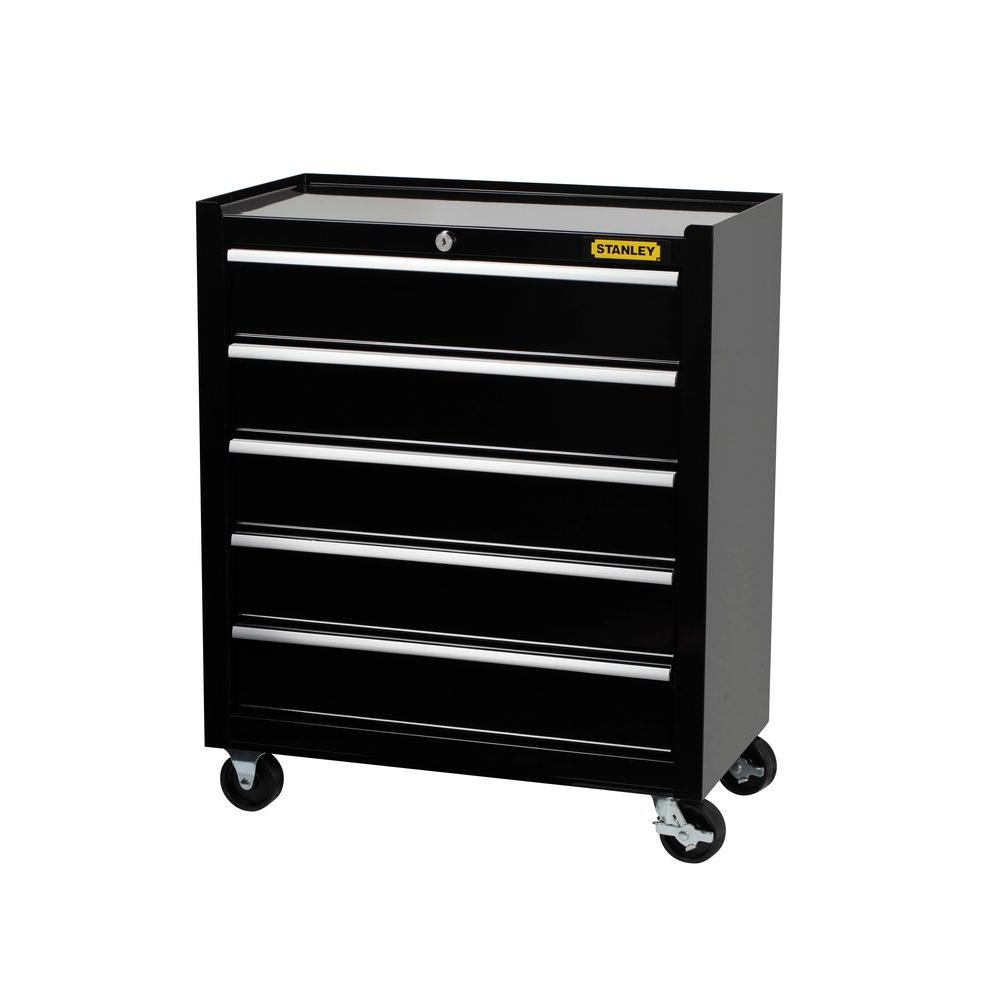 Stanley 24 In 5 Drawer Roller Cabinet Tool Chest Black
